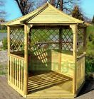 8x7 WOODEN HEXAGONAL GARDEN GAZEBO - PRESSURE TREATED TIMBER, TRELLIS & BOARDED