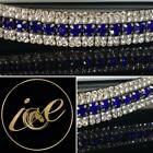Bling 5 Row ICE Crystal/Pearl Diamante Browband Royal Blue. All Sizes & Colour.