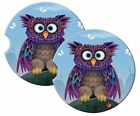 CUSTOM, PERSONALIZED SANDSTONE CAR COASTERS (2) CUTE OWL- ANY TEXT