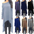 Womens Long Sleeve Knitted Baggy Off Shoulder Mini Dress Sweater Plus Size M-2XL