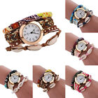 New Fashion Lady Women Bangle Design Woven Leather Bracelet Quartz Wrist Watch