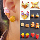 1pcs Creative Women Girl Resin Food Hamburger Ice Cream Cute Ear Stud Earrings