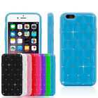 Bling Diamante Crystal Rhinestone Silicone Cover Case for iPhone 5S SE 6 7 Plus