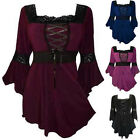 2017 Womens Vintage Flared Sleeve Lace-up T-Shirt Goth Punk Tops Blouse PLUS 5XL