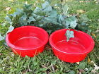 Qty. of 2 Red Plastic Crock-type Pet Dog or Cat Bowls Food Dish Large or Small