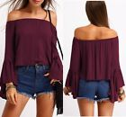 Women Lady Boat Neck Off the Shoulder Long Sleeve Puff Style Blouse T-Shirt Top