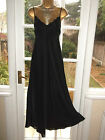 Vtg 80s Glossy Satin Poly Lacy Slip Dress Negligee Nightie Gown UK22-24 Tall