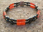 Men's Powerful Magnetic Hematite Red Carnelian NECKLACE, BRACELET, ANKLET 2 Row