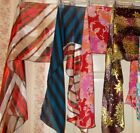 Long Silky Scarf Scarves Wrap Solid Multi Color Stripes Floral OR Crochet FREE S