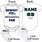 PERSONALIZED SEATTLE SEAHAWKS FAN BABY GERBER ONESIE / SOCKS CUSTOM MADE GIFT $22.99 USD on eBay