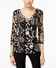NEW INC Women 3/4 Sleeve V-Neck See Throught Ruched Blouse Top Black Taupe  XL