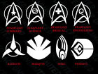 STAR TREK LOGO EMBLEMS DECAL STICKER STARFLEET KLINGON