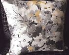PAIR NEW Grey & Yellow ABSTRACT FLORAL LGE SQUARE 56 x 58cm Cushion Covers
