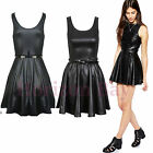 Ladies Womens Plus Size Wet Look PVC Belted Flared Celebrity Skater Dress 16-26