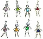Silver Birthstone Kids Charms Pendants 925 Moveable All Months Boy/Girl