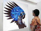 Large Urban Native Indian Feather  Oil Painting Street Art  Canvas Choose