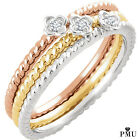Real 14K Solid Gold .01 CTW Diamond Stackable Ladies Ring (Rose,Yellow,White)
