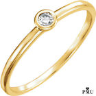 Real 14K Gold .06 CTW Bezel Diamond Ladies Solitaire  Ring (Rose,Yellow,White)