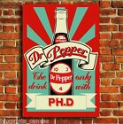 RETRO VINTAGE DR PEPPER ADVERT CANVAS ART BOX PRINT PICTURE SMALL MEDIUM LARGE