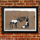 BANKSY ZEBRA STRIPES DOG POSTER FRAMED WALL ART PRINT PICTURE SMALL MEDIUM LARGE