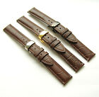 20mm Brown Genuine Leather Watch Band CROCO w Butterfly Clasp