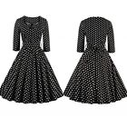 Women Vintage Retro 50s 60s Rockabilly Swing Pinup Plus Size Party Causal Dress
