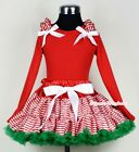 Xmas Red White Streak Pettiskirt Long Sleeve Red Top With Ruffle & Bow 1-8Year