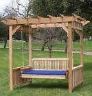 NEW CEDAR DELUXE DECORATIVE ARBOR 4 FOOT PORCH SWING BED W CUSHION HANGING CHAIN