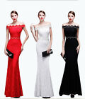 Women Perls Long Formal Prom Cocktail Party Ball Gown Evening Bridesmaid Dress