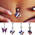 US Flag Pattern Dangle Crystal Rhinestone Belly Navel Bell Button Ring Body