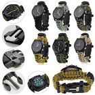 Survival Paracord Watch Bracelet COMPASS FLINT WHISTLE Outdoor Bushcraft Hiking