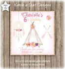 TRIBAL BOHO RUSTIC TEEPEE PARTY PERSONALISED SQUARE GLOSS PARTY STICKERS X 12