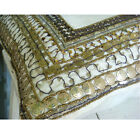 """3D Sequins Antique ivory Art Silk 14""""X14"""" Throw Pillow Covers - Ivory Treasure"""