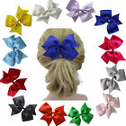 """1x Large 5"""" Baby Girl Kid Grosgrain Hair Pigtail Bow Alligator Clip 12 Color"""