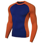 Mens Athletic Apparel Compression Shirt Long Sleeve Fitness Base Layers Tights
