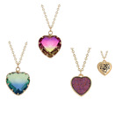 BellaMira Pink Blue Red Amber Rose Gold Crystal Message Necklace Gift Boxed