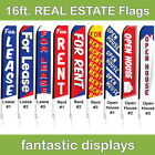 16ft REAL ESTATE Office Swooper Advertising Flag Banner with Pole and Spike