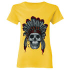 Indian Skull Headdress Women T-Shirt Shirts Native American Day of the Dead Tees