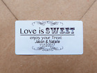 PERSONALISED 25MMX50MM LOVE IS SWEET STICKERS WEDDING FAVOURS INVITATIONS