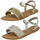 Ladies Spot On Leather Collection Beaded Sandals - F0896