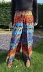 Colourful Fitted Elasticated Tie Dye Wrap Trousers Harem Pants Wide Leg Pleat