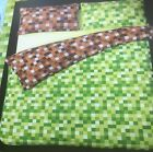 GREEN & BROWN FUNKY SQUARES CHECKERED REVERSIBLE DUVET COVER BED SET OR CURTAINS