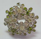 Vintage 925 Sterling Silver Floating Peridot Citrine Ring 18 Grams Size 6, 7 New