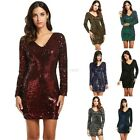 Women's V-Neck Long Sleeve Sequined Cocktail Bodycon club party Mini Dress FTMK