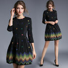Spring Autumn Fashion Womens 3/4 Sleeve Exquisite Floral Embroideried Mini Dress