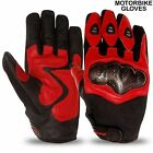 Motorbike Leather Gloves Air Mesh Vented Carbon Knuckle Protection Motorcycle