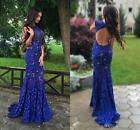 Royal Blue Mermaid Beaded Long Evening Prom Dress Celebrity Pageant Party Gown