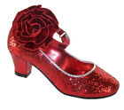 Girls Red Glitter Low Heeled Party Shoes Dorothy Dress Up Sparkly Bridesmaid