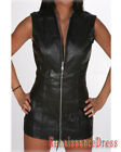 Goth Black Leather Corset Skirt Dress with Front Zipper