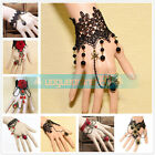 European Vintage Bangle Lace Flower Interweave Finger Ring Bracelet Chain